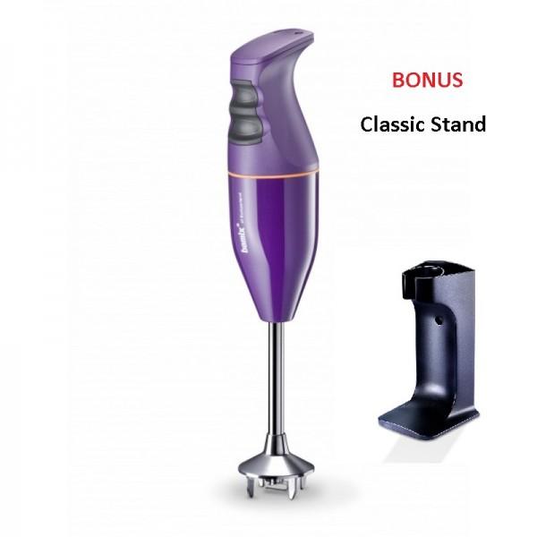 Bamix Classic Immersion Blender 140W Aubergine + Bonus Stand